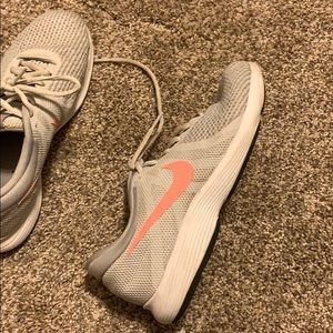 Pink and grey nike's